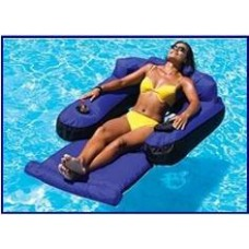 Swimline Air Inflatable Pool Float Ultimate Floating Lounger Fabric Covered Blue - 9047